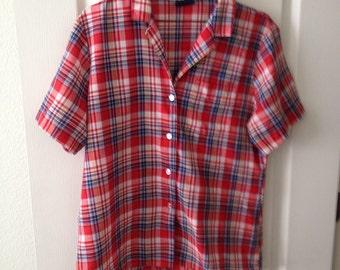 Vintage womens koret plaid blouse