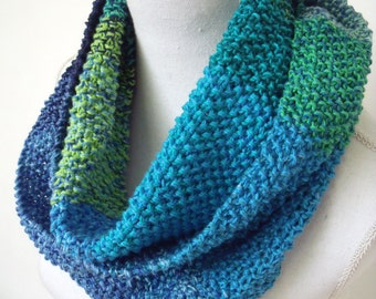 green/blue cotton colsjaal in MOSS stitch (150 cm long, 17 cm wide)