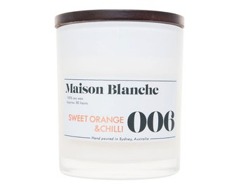 Sweet Orange & Chilli Soy Candle. Hand-poured. 80 hr burn time.