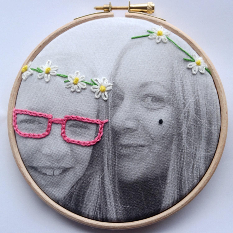 Photo embroidery hoop art graffiqué gift