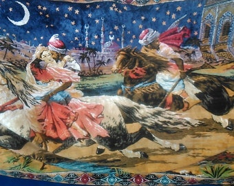 rare Vintage oriental Abduction from the Seraglio / Abduction from the Palace / Abduction from the Serai wall rug Illustrated wall carpet