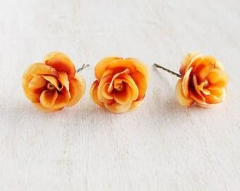 Burnt Orange Hair Pins, Fall Bridal Clips, Silk Rose Hair Pins, Small Bridal Clips, Bridal Bobby Pins, Woodland Hair Pins, Fall Hair Pins