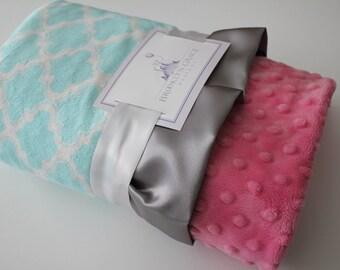 Aqua Moroccan Tile with Pink Minky Dot & Charcoal Gray Satin, Girls, Baby, Nursery, Crib Bedding