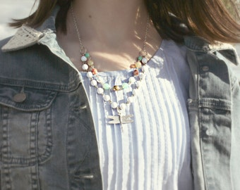 Double Strand Pastel Dragonfly Necklace