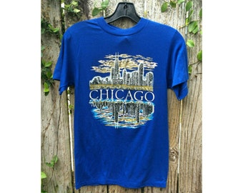 Vintage Glitter Chicago Skyline Tee 1980s