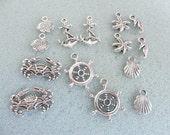 14 tibetan silver seaside charms - mixed seaside charms -assorted sizes - tibetan silver charm - sea charms - seaside charm