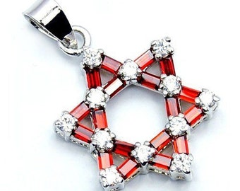 Jewish Star Of David Red, White Cz & .925 Sterling Silver Pendant , W93