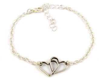 Silver plated heart bracelet - silver mix and match armcandy