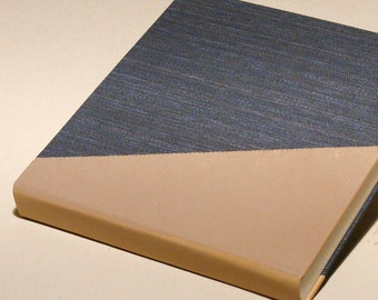 Elegant Photoalbum, Art Photo Album, Brown Leather Blue Canvas Wrap, Traditional Album, Memory Album, Personalized Photography Book