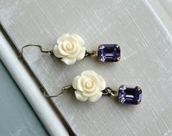 Earrings, Ivory resin flower and Periwinkle crystal earrings 1