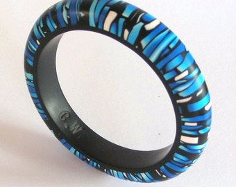 Blue  Monharch Stroppel handmade polymerclay bangle