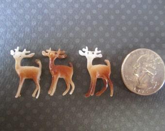 Tiny Trio Miniature Deer Vintage Plastic - 3