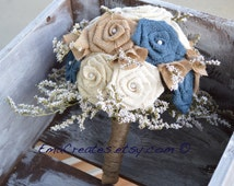 Navy Blue, Natural, White and Ivory Burlap Wedding Bouquet