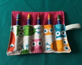 Mini Rainbow Owl Crayon Roll