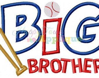 Big Brother Baseball Machine Embroidery Design