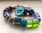 Chunky Bead Bracelet | Glass, Ceramic and Wood Bead Bracelet | Button Fastening Bracelet