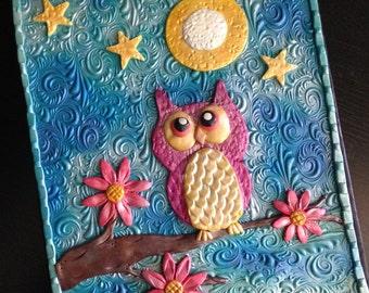 "SOLD Polymer Clay Journal ""Goodnight Owl"" (DISPLAY) Hardbound Journal Blank Notebook"