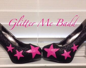 Pink Stars on black glitter heel