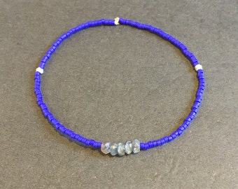 REDUCED - The Deep End: Labradorite/Blue Seed Bead Bracelet