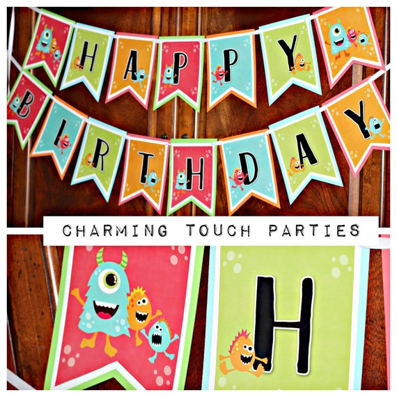 Trolls Happy Birthday Banner We Can Easily Add An: Little Monster Birthday Party Decorations, Happy Birthday