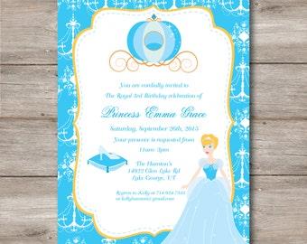 Princess Birthday Invitation with Editable Text, Princess Party Invitation to Print at Home, DIY Editable Cinderella Princess Invitation