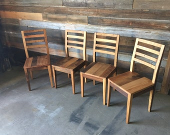 Reclaimed Barn Wood Dining Chairs With Tapered Legs