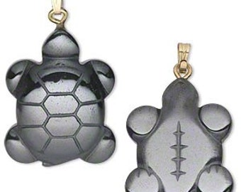 Hematite Turtle Pendant