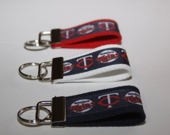 MINI Key chain wristlet key fob with Minnesota Twins Ribbon