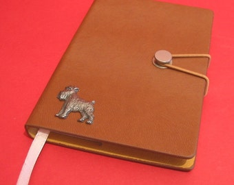 Miniature Schnauzer Hand Cast Pewter Motif on A6 Note Book Father Mother Schnauzer Gift