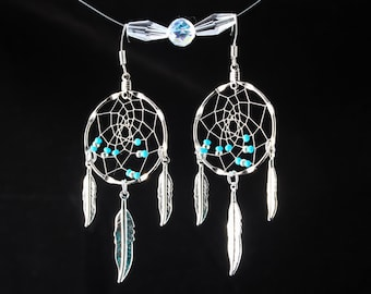 Handmade Dreamcatcher Earrings in gold or silver with turquoise beads, Native American style, tribal earrings