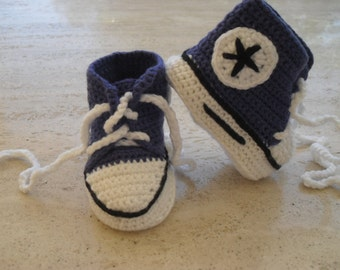 Crochet Baby Boy Converse/All Star Booties/Baby Boy Boots  Ready Made - Size New Born 0 to 3 Months Ready Made To Ship