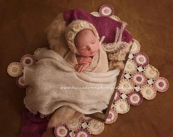 Crochet Blanket Pattern, Floral Blanket Pattern, Photo Prop, Alida