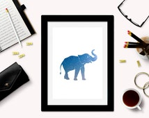 Downloadable Elephant Art Print - Elephant Silhouette - Elephant Download - Elephant Printable - Galaxy Art - Space Art - Elephant Decor -