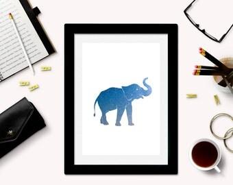 Downloadable Elephant Art Print - Elephant Silhouette - Elephant Download - Elephant Printable - Galaxy Art - Space Art - Elephant Decor -