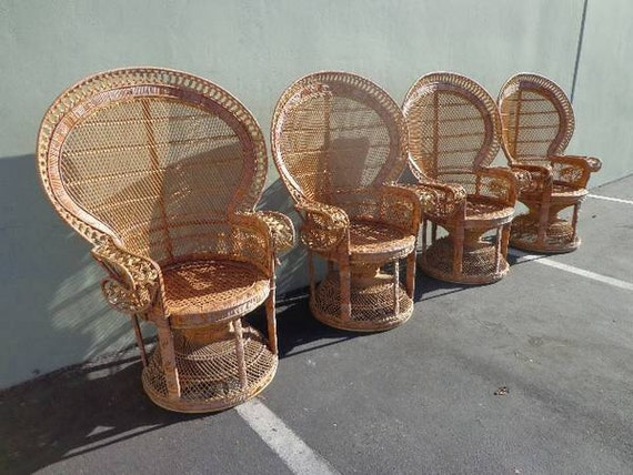 Fabulous Boho Chic Peacock Chairs Fan Regency Rattan Armchair