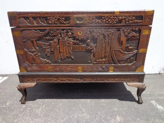 Asian Inspired Chinoiserie Trunk Coffee Table Hope Chest