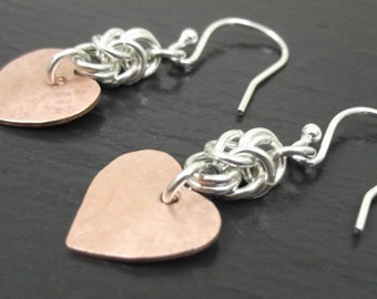 Sterling Silver chainmaille and copper heart earrings