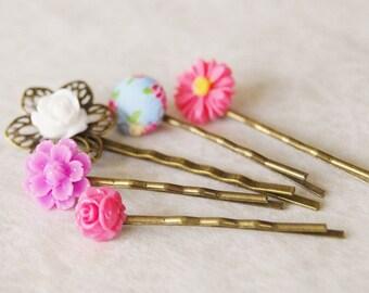 Summer Garden Hair Pin Set / Flower Bobby Pin Set / Bridal Hair Clips / Pin-Up Hair Flower / Set of 5 Hair Pins
