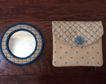 Polka Dot Mirror and Pouch