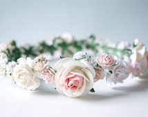 Paper Flower, Crown, Headband, Wedding, pink, soft pink, cream and white Color.