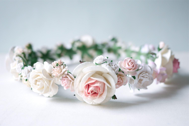 Paper Flower Crown Headband Tiaras Wedding Pink Soft