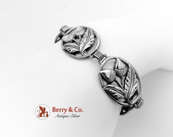 Wide Retro Acorn And Oak Leaf Bracelet Sterling Silver 1950