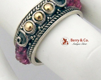 Designer Ornate Ring Band Sterling Silver Tourmaline 18K Gold Suarti