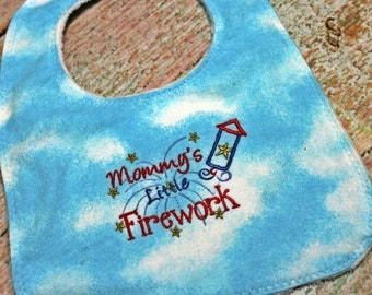 Embroidered Baby Bib – Embroidered Minky Bib – Mommy's Little Firework