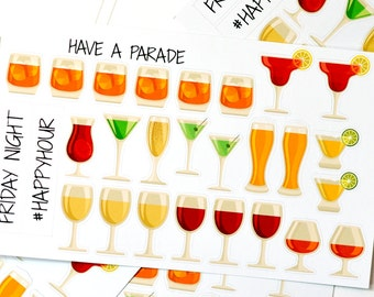 27 Adult Drink Stickers for your Erin Condren Life Planner