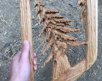 Tree Wood Carving, Fine Art Sculpture, Handmade Woodworking in Ohio, Hand Carved by Josh Carte, Wood Gift for Her, Wood Gift for Dad, Artist