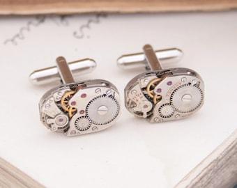 Cuff links Steampunk Cufflinks Watch Clockwork Quirky Cufflinks Industrial Mens Jewelry Anniversary Gifts for Husband Steam Punk Cufflink