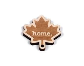 Maple Leaf Key Charm by Home State Apparel: Laser Engraved Wood Keychain, Canada Maple