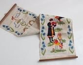 Vintage Swedish Printed Wall Hanging, Folk Dancer Wall Decor, Linen Wall Art, Scandinavian Textile Tapestry, Farmhouse Decor