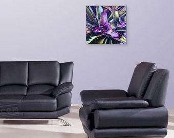Wall Art, Home Decor, Original Painting, Contemporary Acrylic, Canvas, Magenta, Purple Painting,  Acrylic on Canvas Title: BROMELIAD